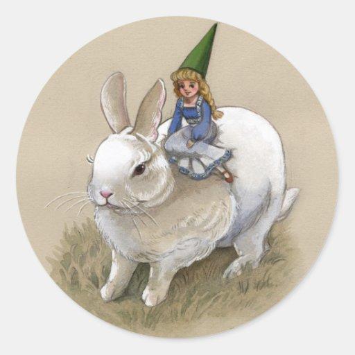 Señora Gnome y conejo Pegatina Redonda