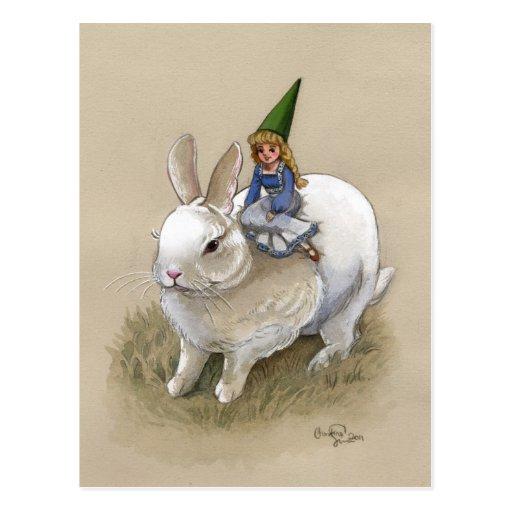 Señora Gnome y conejo Postal