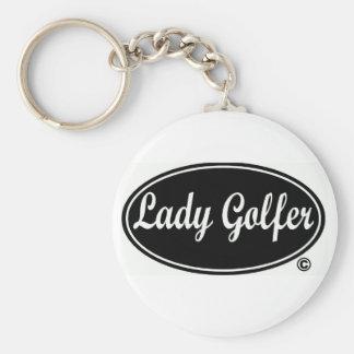 Señora Golfer Button Keychain Llavero
