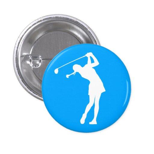 Señora Golfer Silhouette Button Blue Pin Redondo 2,5 Cm