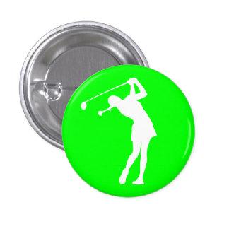 Señora Golfer Silhouette Button Green Pin Redondo De 1 Pulgada