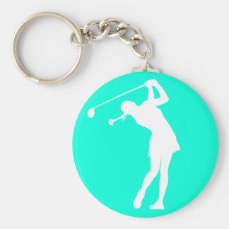 Señora Golfer Silhouette Keychain Turquoise Llavero Redondo Tipo Pin