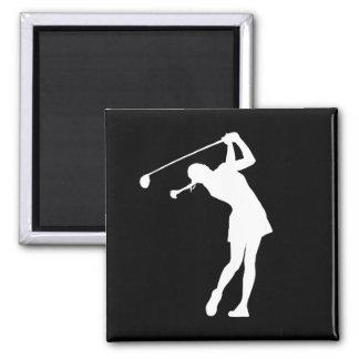 Señora Golfer Silhouette Magnet Black Imán Cuadrado