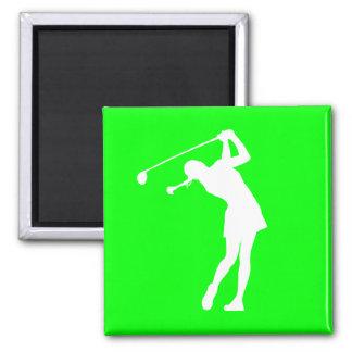 Señora Golfer Silhouette Magnet Green Imán Cuadrado