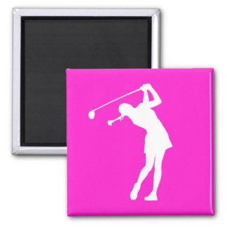 Señora Golfer Silhouette Magnet Pink Imán Cuadrado