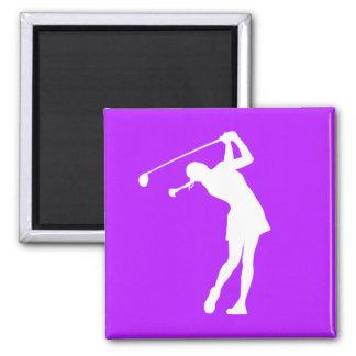 Señora Golfer Silhouette Magnet Purple Imán Cuadrado