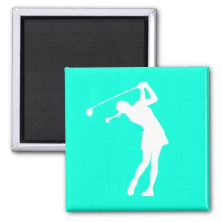 Señora Golfer Silhouette Magnet Turquoise Imán Cuadrado