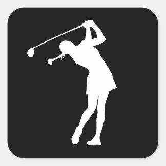 Señora Golfer Silhouette Sticker Black Pegatina Cuadrada