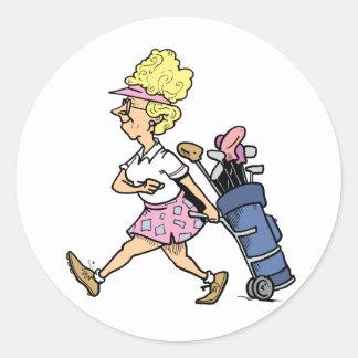 Señora Golfer Tshirts y regalos Pegatina Redonda