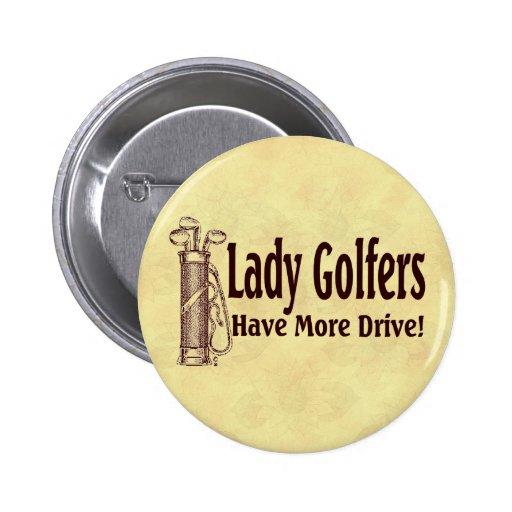 Señora Golfers Pin Redondo De 2 Pulgadas