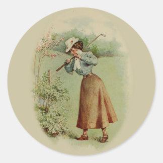 Señora Golfing Art del vintage Pegatina Redonda