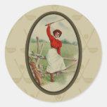 Señora Golfing Art (dos) del vintage Etiquetas Redondas