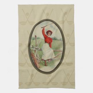 Señora Golfing Art (dos) del vintage Toalla