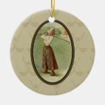Señora Golfing Art (tres) del vintage Ornamentos De Navidad