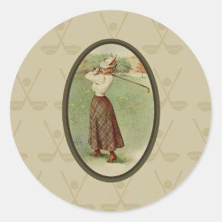 Señora Golfing Art (tres) del vintage Etiquetas Redondas