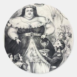Señora gorda grande pegatina redonda