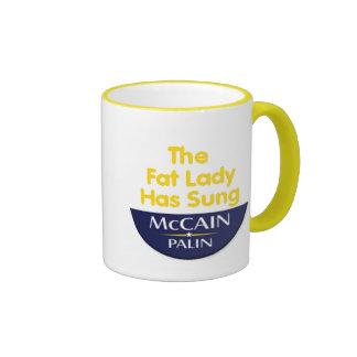 Señora gorda Has Sung Mug de McCain Palin Taza De Dos Colores