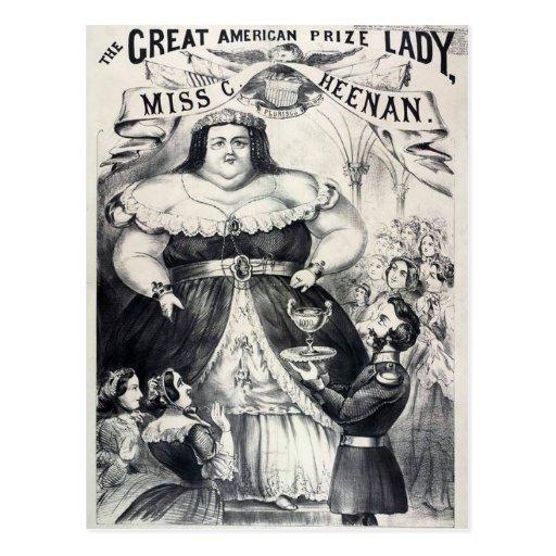 Señora gorda premiada tarjetas postales