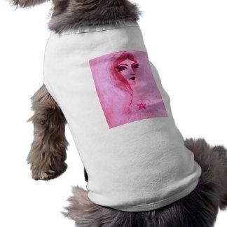 Señora gótica con pentagram playera sin mangas para perro