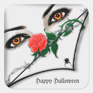 Señora gótica Peeking Over Halloween Stickers Pegatina Cuadradas Personalizadas