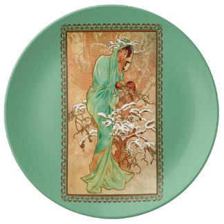 Señora Green Golden Tree del art déco del vintage Plato De Cerámica