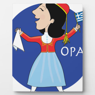 Señora griega Dancing Placa De Plastico