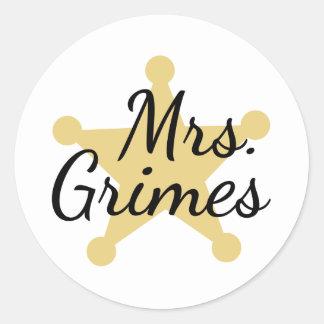 Señora Grimes Pegatina Redonda