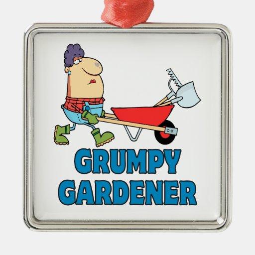 señora gruñona divertida del jardinero adorno navideño cuadrado de metal
