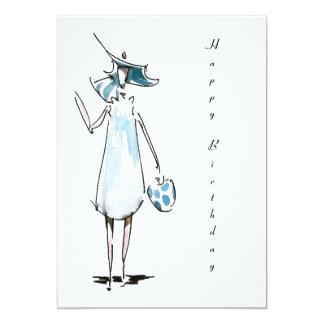 Señora hacia fuera a almorzar tarjeta del feliz invitación 12,7 x 17,8 cm