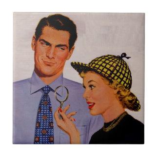 señora hermosa Arlene Sherlock Holmes del hombre y Azulejo Cuadrado Pequeño