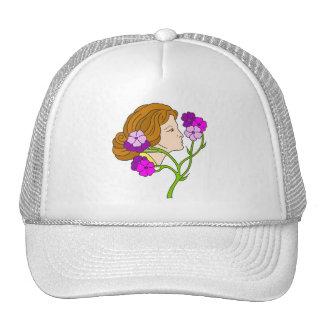 Señora hermosa de Nouveau del arte con las flores Gorros Bordados