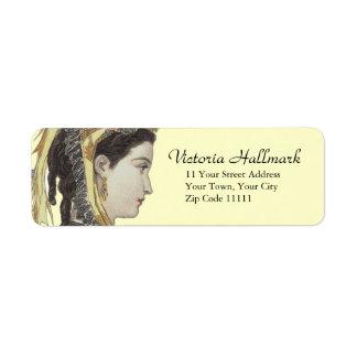 Señora hermosa del Victorian en perfil Etiquetas De Remite