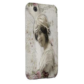 Señora hermosa del vintage con las joyas y las funda para iPhone 3 de Case-Mate