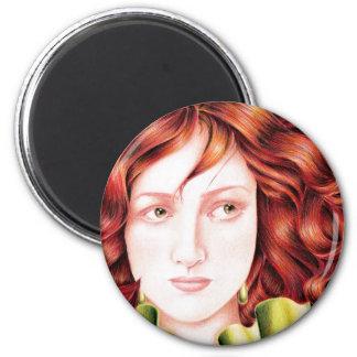 Señora hermosa Magnets Imán Redondo 5 Cm