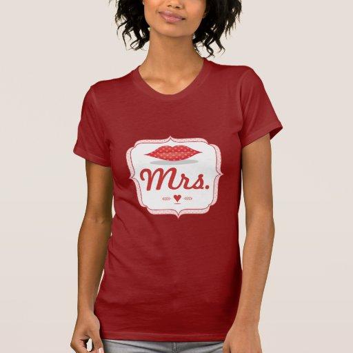 Señora Hipster Vintage Retro Bride de los labios Camisetas
