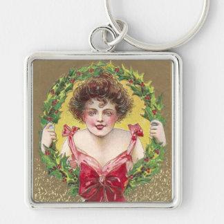 Señora Holding Holly Wreath Llavero Personalizado