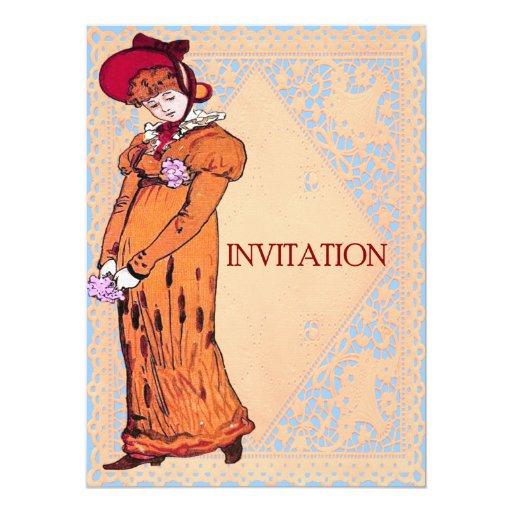 """señora Illustration del vintage 1800's Invitación 5.5"""" X 7.5"""""""