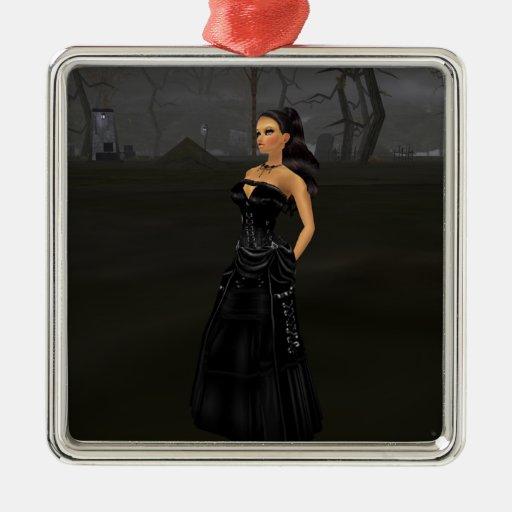 Señora In A Graveyard Ornament del gótico Ornato