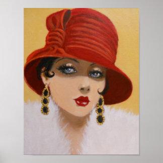 SEÑORA IN A RED HAT, POSTER DEL VINTAGE