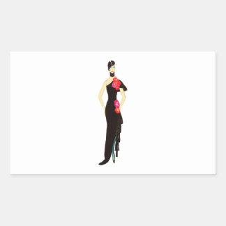 Señora In Black - ejemplo de la moda del vintage Pegatina Rectangular