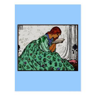 Señora In del Redhead una lectura verde del vestid Postales