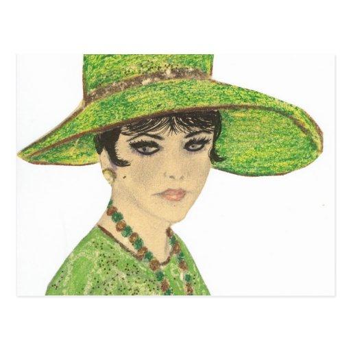 Señora In Green Tarjeta Postal
