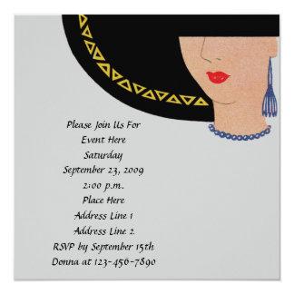 """Señora In Hat Invitation del art déco Invitación 5.25"""" X 5.25"""""""