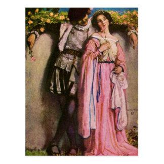 Señora In Pink Dress With un caballero Postal