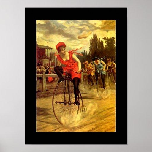 Señora In Race de la bicicleta de la bici de la an Póster