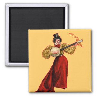 Señora In Red Magnet Imán Cuadrado