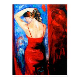 Señora In Red Postales
