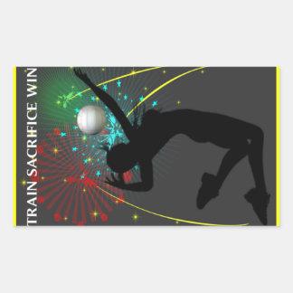 Señora inspirada Volleyball Stickers Pegatina Rectangular