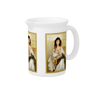 Señora italiana elegante jarras para bebida