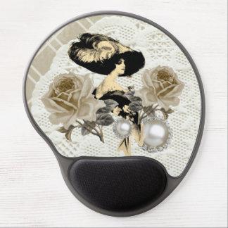 Señora Ivory Lace Gel Mousepad del vintage Alfombrilla Con Gel